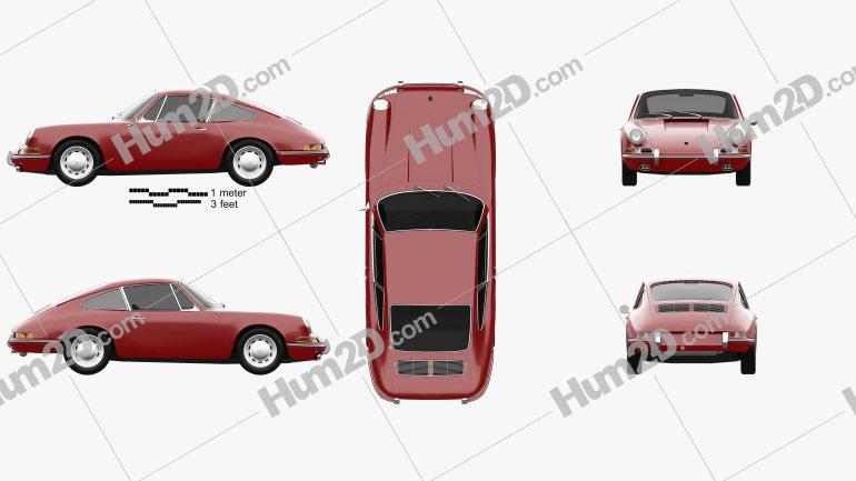 Porsche 911 Coupe Prototyp (901) 1962 Clipart Image