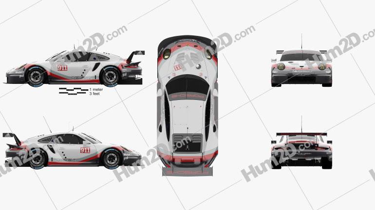 Porsche 911 Carrera (991) RSR 2017 car clipart