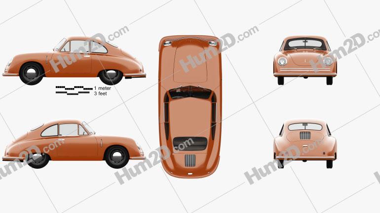 Porsche 356 coupe with HQ interior 1948 car clipart