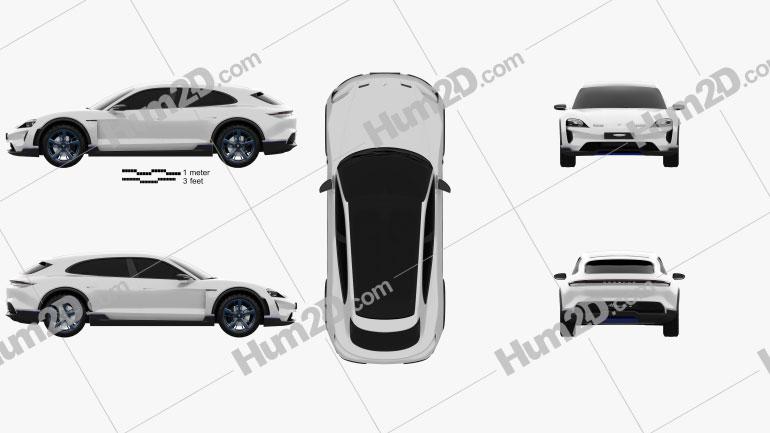 Porsche Mission E Cross Turismo 2018 car clipart