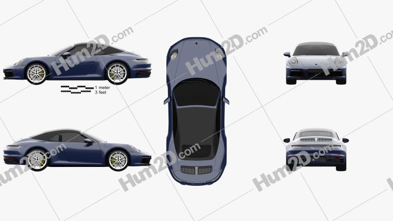 Porsche 911 Carrera 4S Cabriolet 2019 car clipart