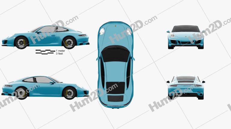 Porsche 911 Carrera GTS coupe 2017 car clipart