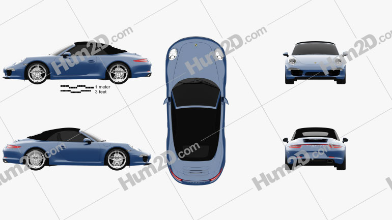 Porsche 911 Carrera 4 Cabriolet 2012 Clipart Image