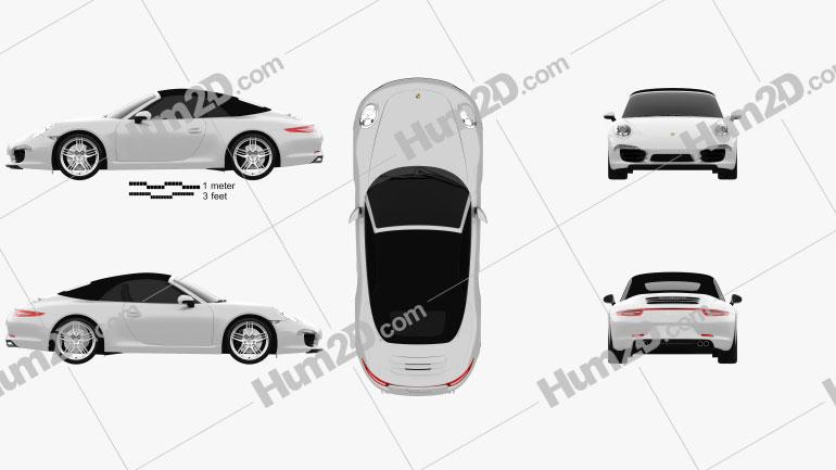 Porsche 911 Carrera 4 S Cabriolet 2012 Clipart Image
