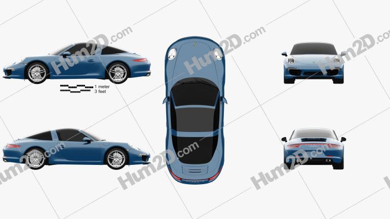 Porsche 911 Targa 4 2014 car clipart