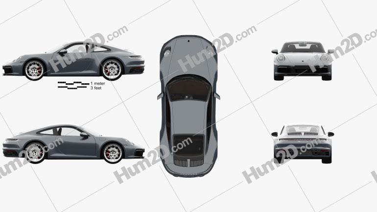 Porsche 911 Carrera 4S coupe com interior HQ 2019 car clipart