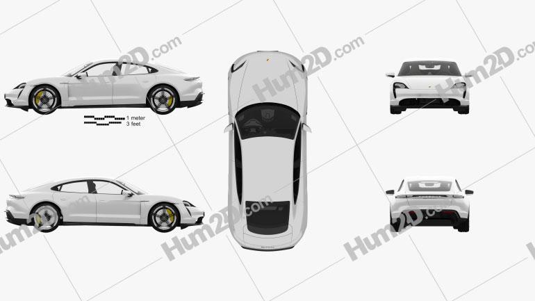 Porsche Taycan Turbo S with HQ interior 2020 car clipart