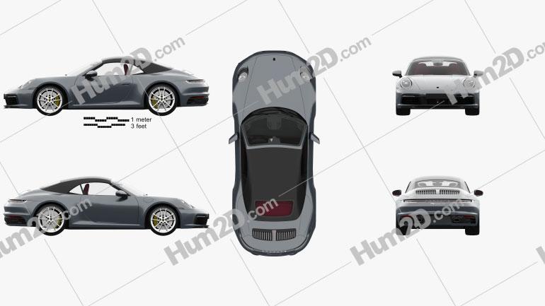 Porsche 911 Carrera 4S Cabriolet com interior HQ 2019 car clipart
