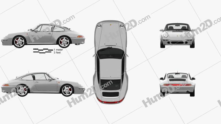 Porsche 911 Carrera 4S Coupe com interior HQ 1997 car clipart