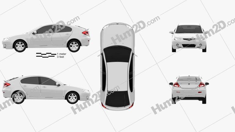 Proton Gen-2 hatchback 2012 car clipart