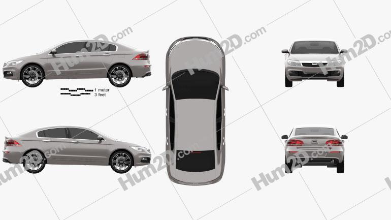 Qoros 3 sedan 2014 Clipart Image