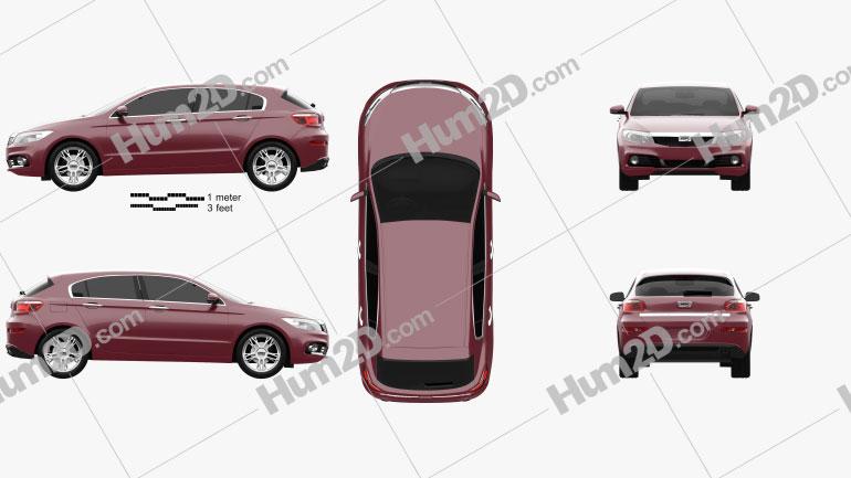 Qoros 3 hatchback 2014 Clipart Image