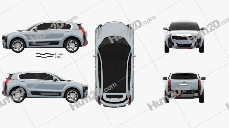 Qoros 2 SUV PHEV 2015 Clipart Image