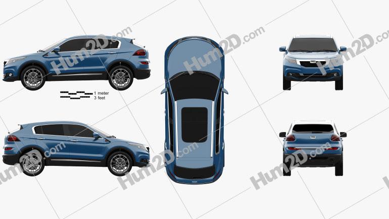 Qoros 5 SUV 2016 Clipart Image