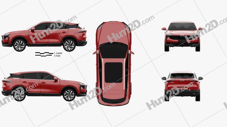 Qoros 7 2020 car clipart