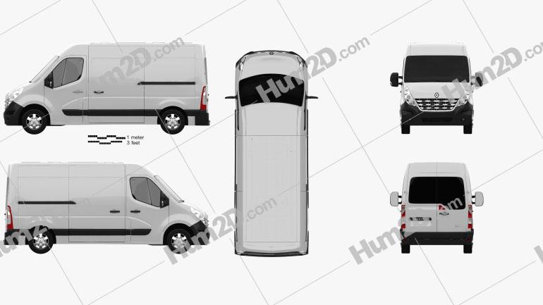 Renault Master Panel Van 2010 Clipart Image
