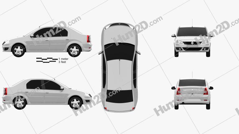 Renault Logan Sedan 2011 Clipart Image