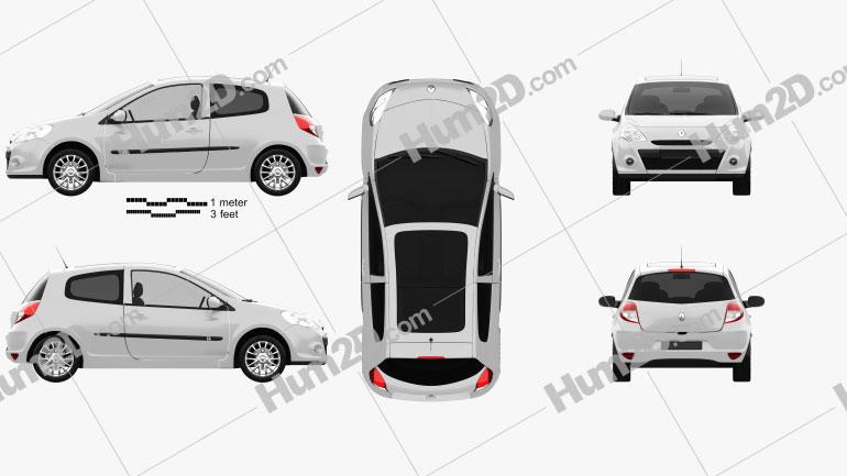 Renault Clio 3-door 2010 Clipart Image