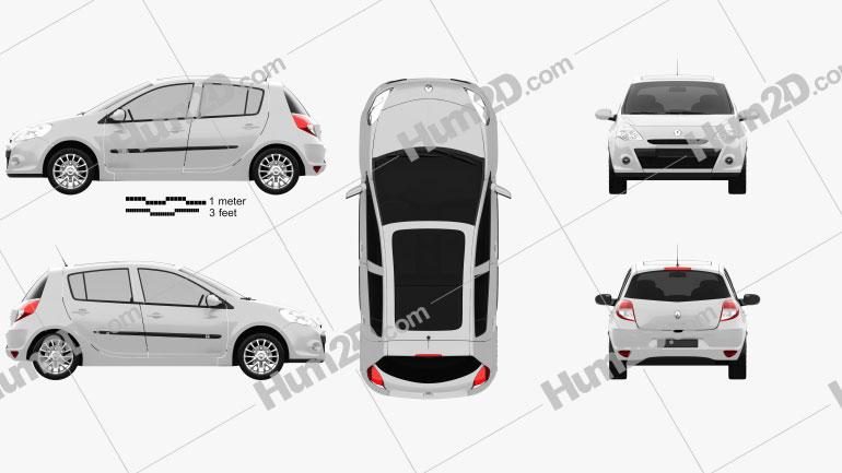 Renault Clio 5-door 2010 car clipart