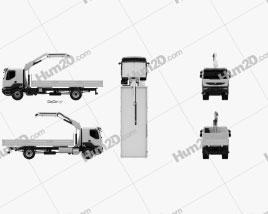 Renault Kerax Flatbed Crane 2011 clipart