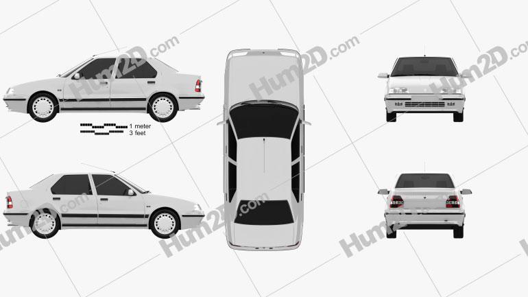 Renault 19 Sedan 1988 Clipart Image