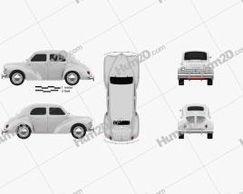 Renault 4CV sedan 1955 car clipart