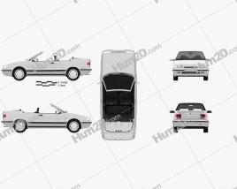 Renault 19 convertible 1988 car clipart