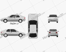 Renault 19 3-door hatchback 1988 car clipart