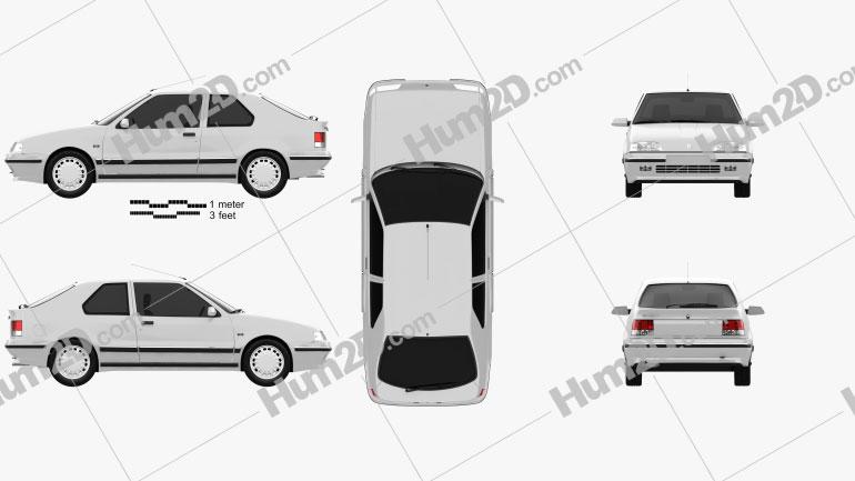 Renault 19 3-door hatchback 1988 Clipart Image