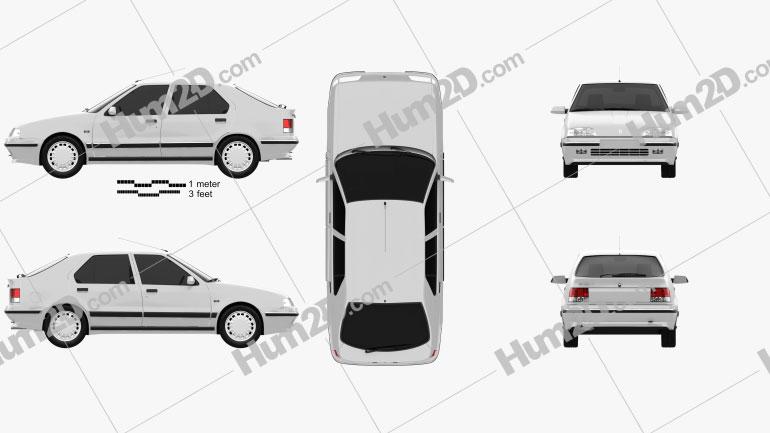 Renault 19 de 5 portas hatchback 1988 Imagem Clipart