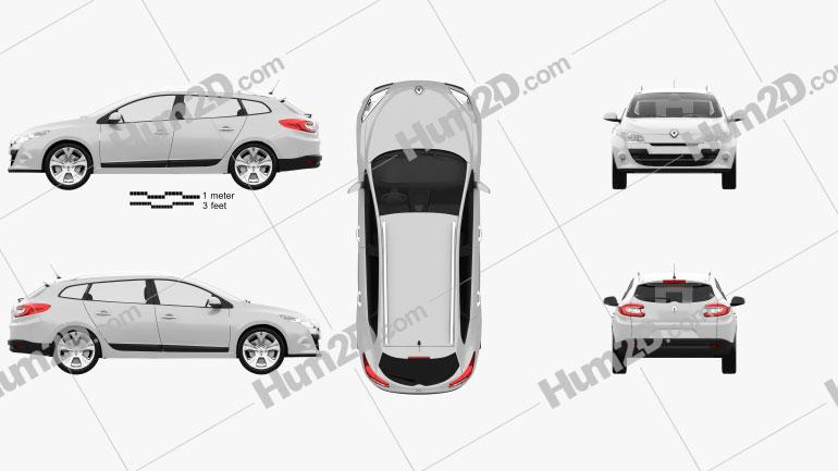 Renault Megane Estate 2011 Clipart Image