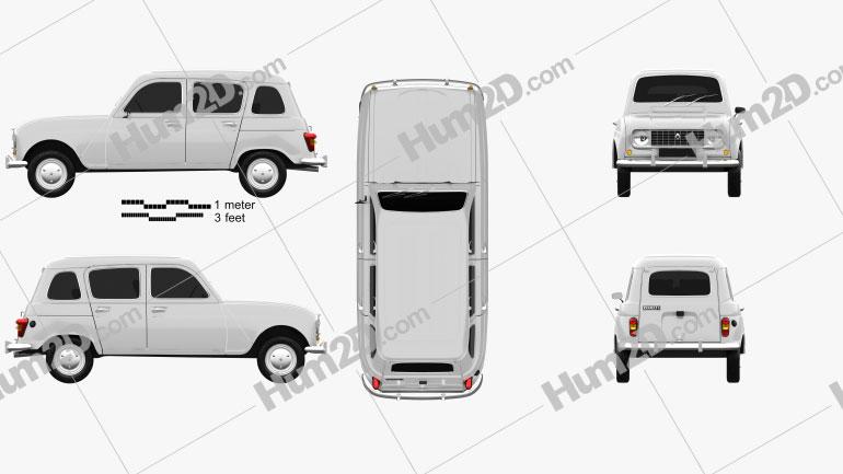 Renault 4 (R4) hatchback 1974 car clipart