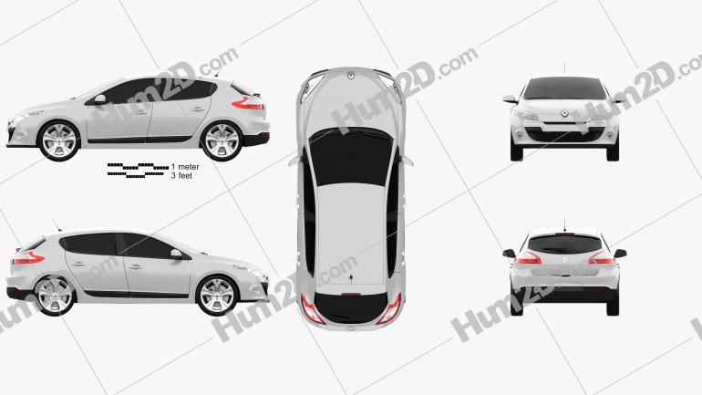 Renault Megane hatchback 2011 car clipart