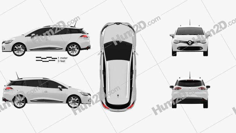 Renault Clio IV Estate 2013 Clipart Image