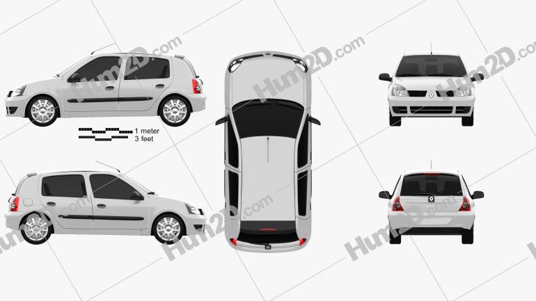 Renault Clio Mk2 5-door 2005 Clipart Image