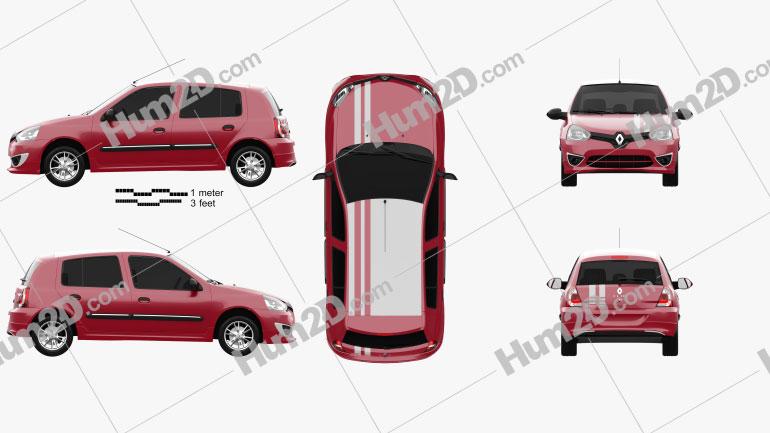 Renault Clio Mercosur Sport 5-door hatchback 2013 car clipart