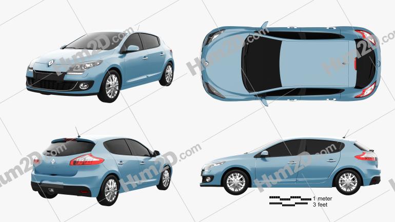 Renault Megane 5-door hatchback 2013 car clipart