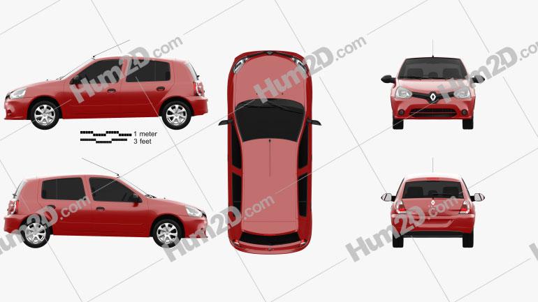 Renault Clio Mercosur de 5 portas hatchback 2013 Imagem Clipart