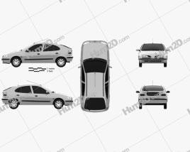 Renault Megane 5-door hatchback 1995 Clipart