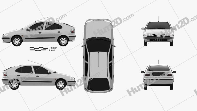 Renault Megane 5-door hatchback 1995 Clipart Image