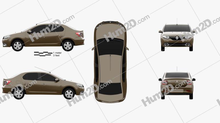 Renault Logan sedan (Brazil) 2013 Clipart Image