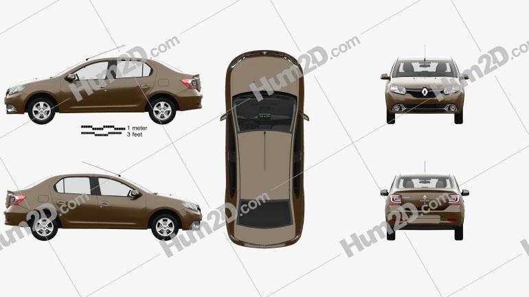 Renault Logan sedan (Brazil) with HQ interior 2013 car clipart
