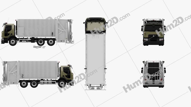 Renault D Wide Rolloffcon Garbage Truck 2013 Clipart Bild