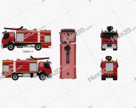 Renault Premium Lander Fire Truck 2011 clipart