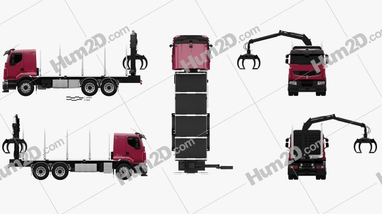 Renault Premium Lander Logging Truck 2006 Clipart Image