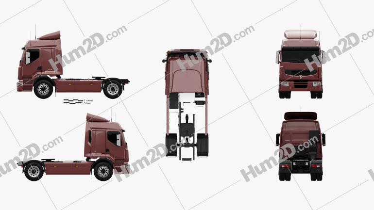 Renault Premium Route Tractor Truck 2006 Clipart Image