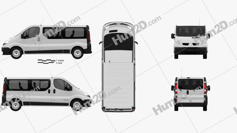 Renault Trafic Passenger Van LWB 2010 clipart
