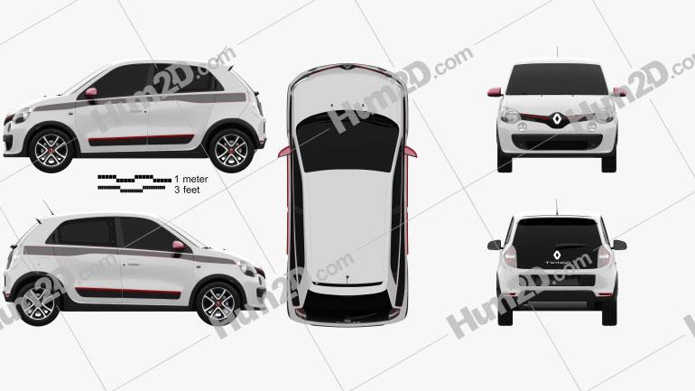 Renault Twingo 2014 Clipart Bild