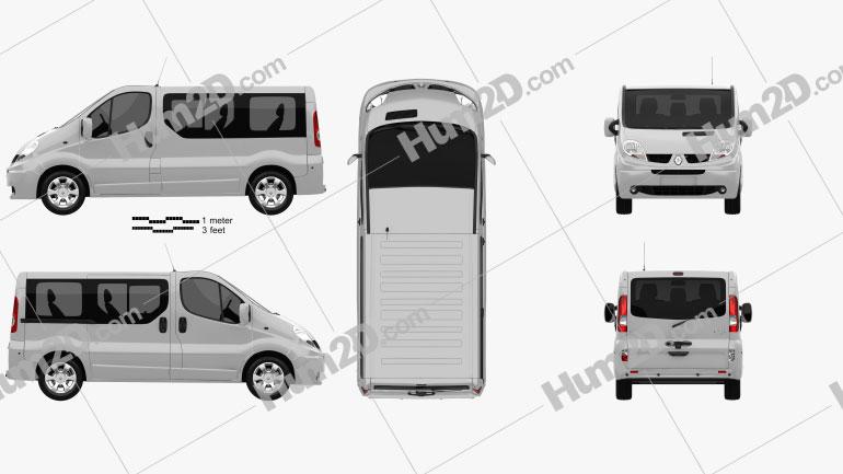 Renault Trafic Passenger SWB SR 2011 clipart