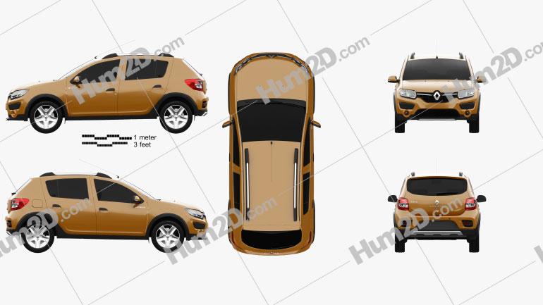 Renault Sandero Stepway (BR/RU) 2014 car clipart